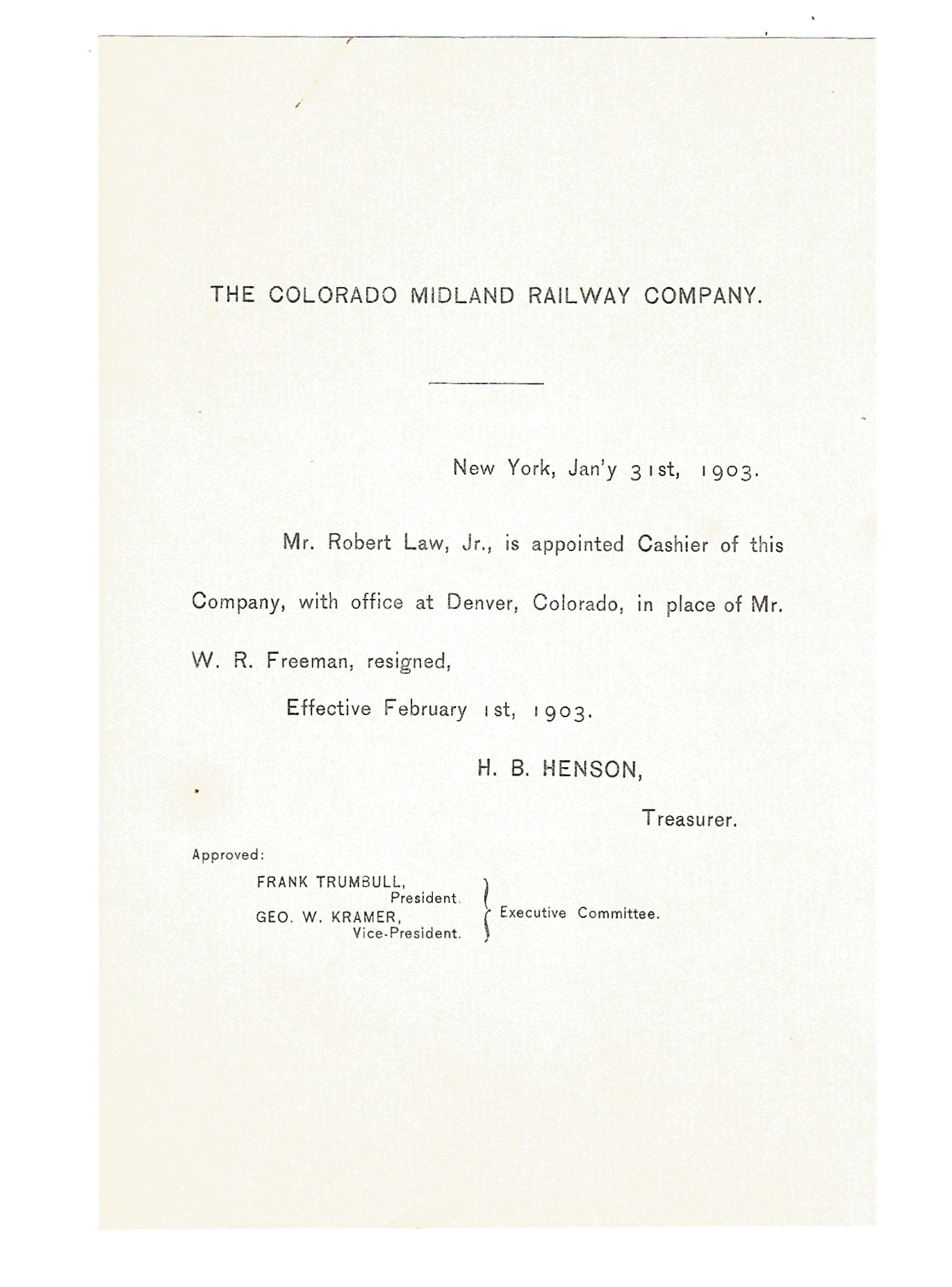 The Colorado Midland Railway Company New Appointee Announcement 1903