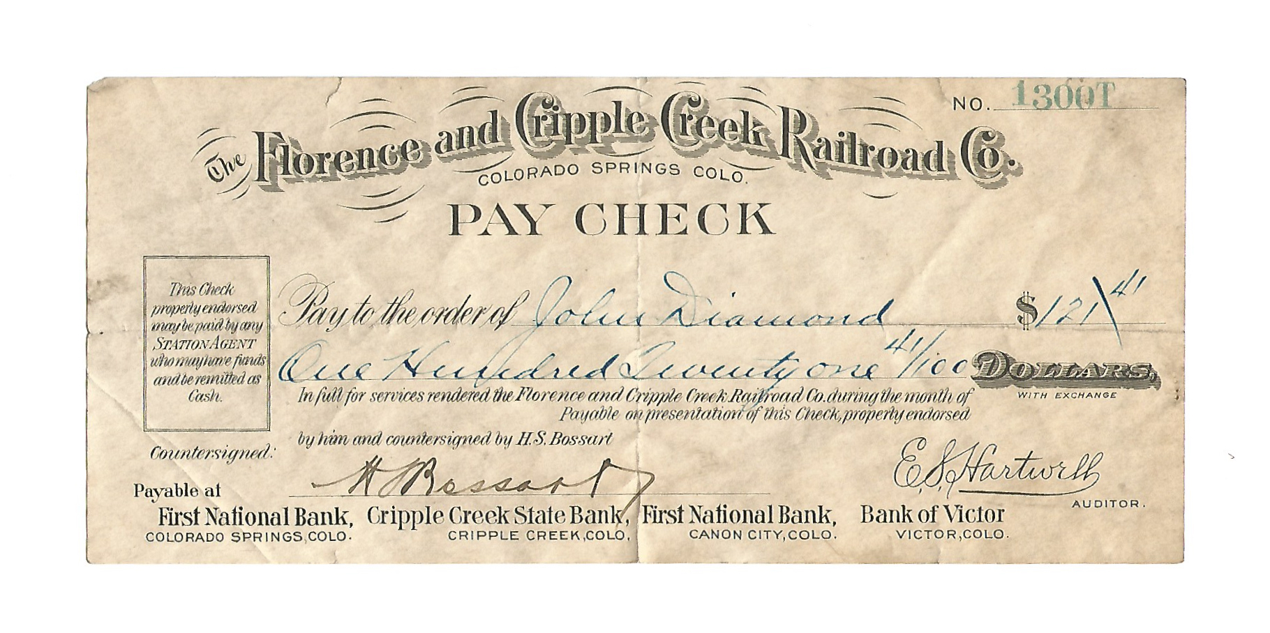 The Florence and Cripple Creek Railroad Company Check 1914