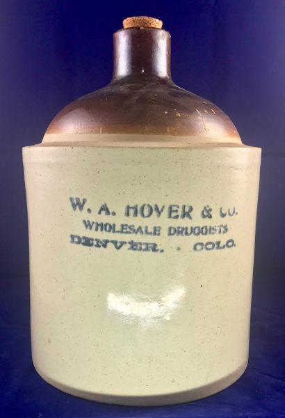 W.A. Hover & CO Wholesale Druggist Denver Colorado Whiskey Pottery Jug ca.1910