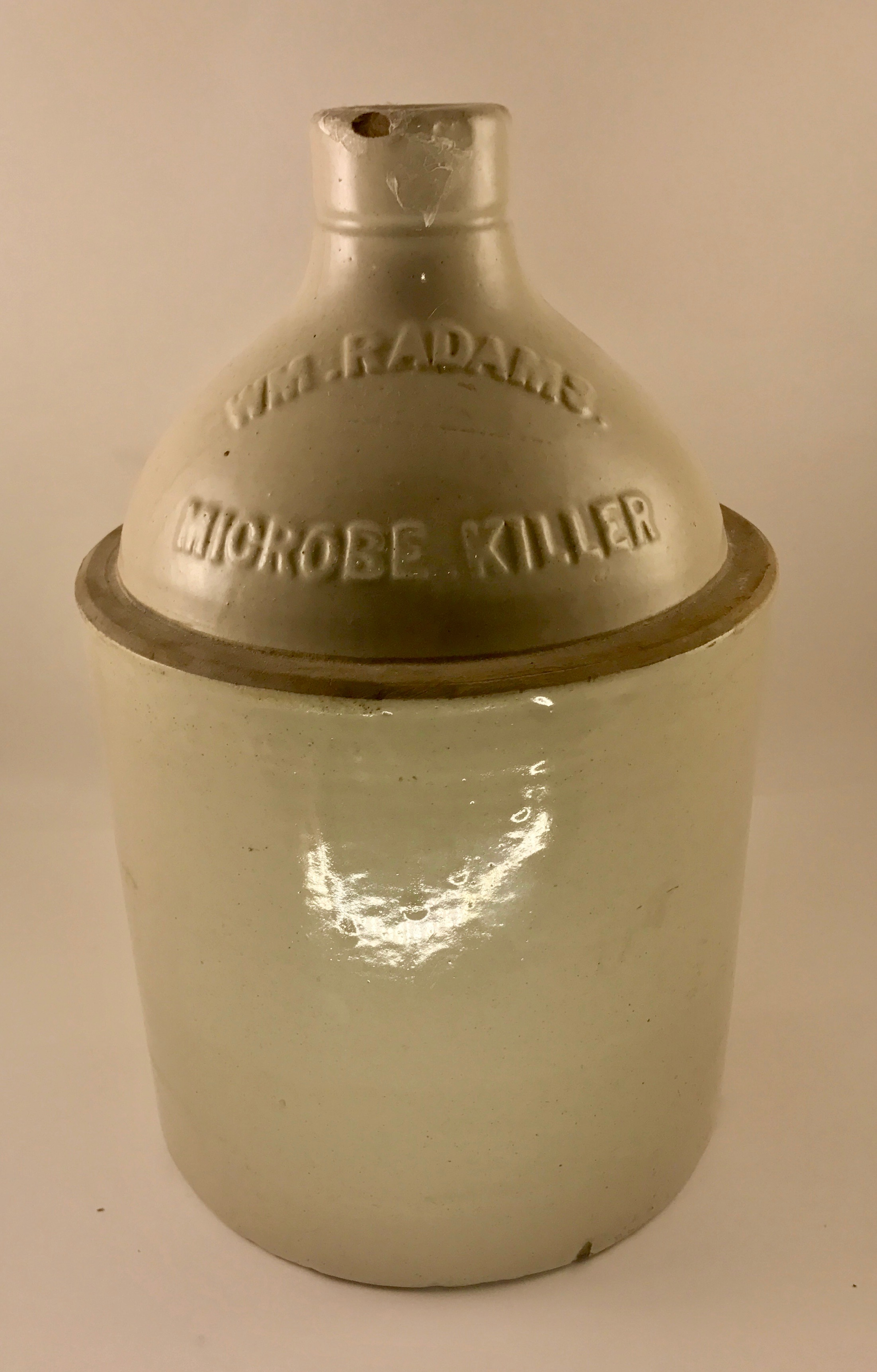 William Radam Microbe Killer Embossed Stoneware Jug ca. 1905