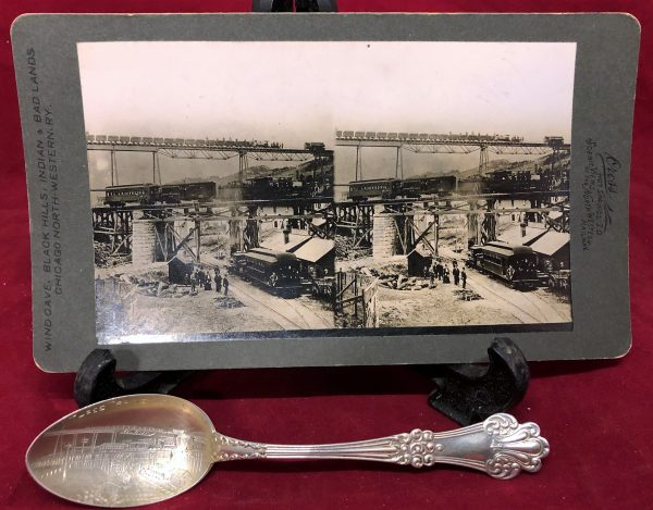 Lead South Dakota Three Railway Trains Stereoview and Sterling Souvenir Spoon (1)