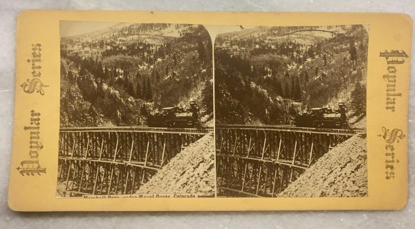 Marshal Pass Under Mount Ouray Colorado Railroad Train Trestle Stereoview ca 1870-1890 (1)