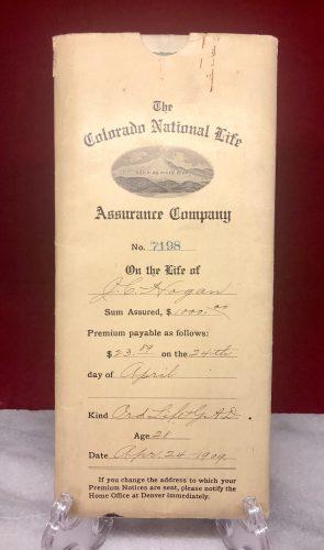 The Colorado National Life Insurance Company 1909 Denver Colorado Contract and Application (2)
