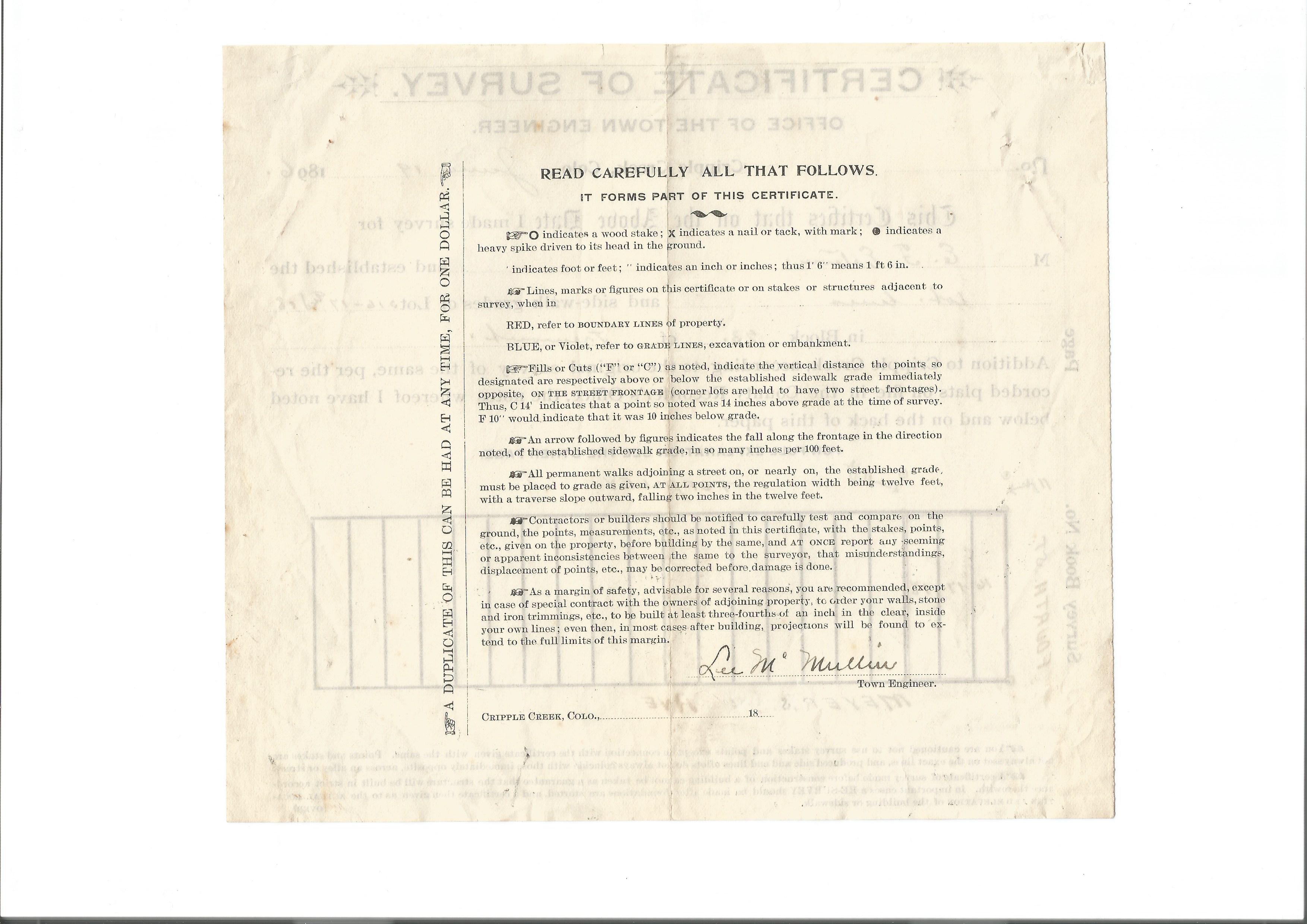 cripple engineer survey certificate creek town 1896 4th meyer