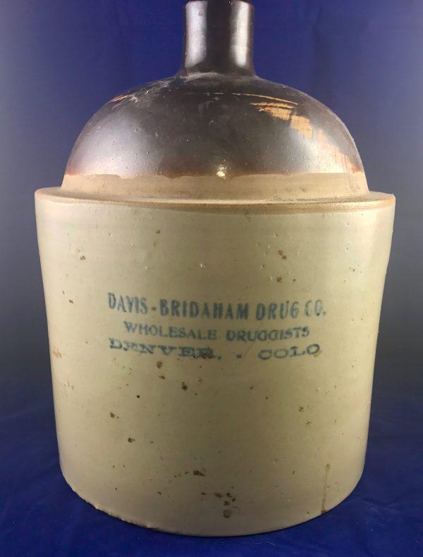 Davis-Bridaham Company Wholesale Druggist Denver Colorado Whiskey Jug ca. 1900