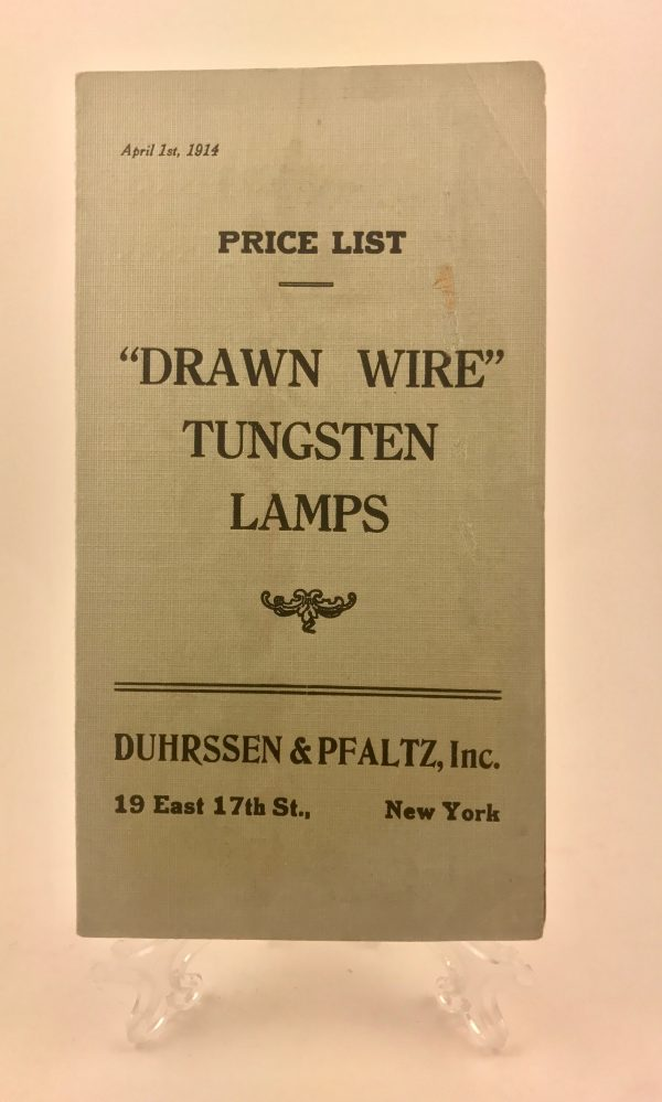 Drawn Wire Tungsten Lamps Price List Mining Pamphlet New York 1914