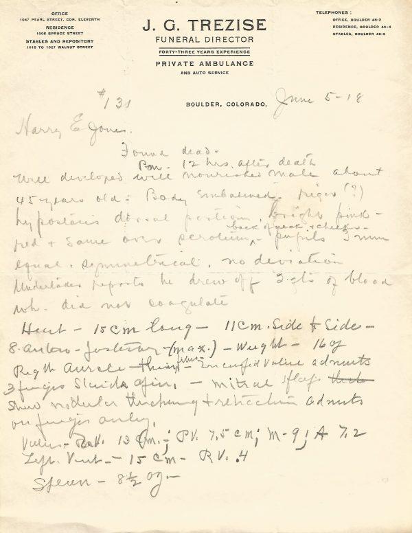 J.G. Trezise Funeral Director Initial Autopsy Report Boulder Colorado 1918