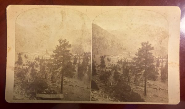 Marshall Pass and the Town of Shirley from the Railroad Stereoview by F.A. Nims' 1