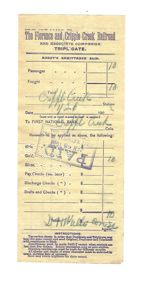 The Florence and Cripple Creek Railroad Colorado Remittance Slip 1902