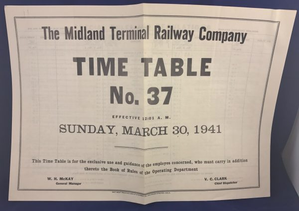 The Midland Terminal Railway Company Colorado Time Table No. 37 1941