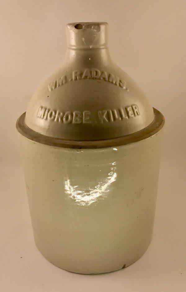 William Radam Microbe Killer Embossed Stoneware Jug ca. 1905